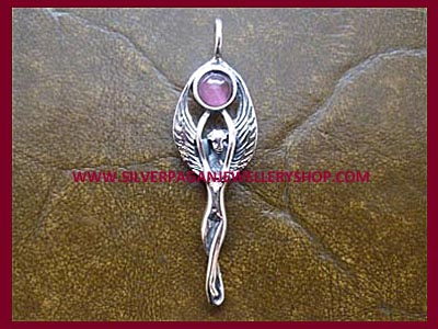Winged Moon Goddess Pendant