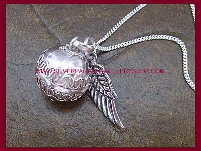 Angel caller pendant with angel wing necklace silver angel caller angel caller pendant with angel wing necklace larger image mozeypictures Choice Image