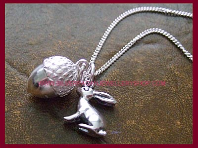 Hare and Acorn Necklace
