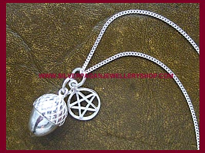 Acorn and Pentagram Pendant Necklace