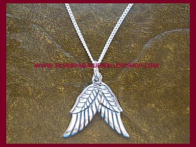 Angel Wings Pendant Necklace (Double Sided) - Click Image to Close