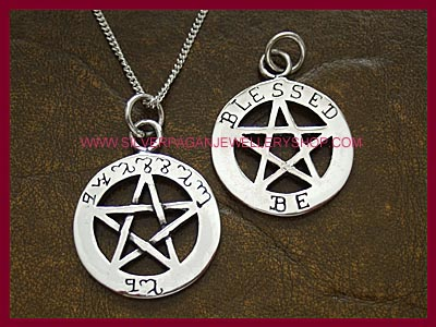 Blessed Be Pentagram Pendant - Theban - Double sided