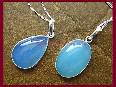 Blue Chalcedony Necklaces - Oval or Teardrop