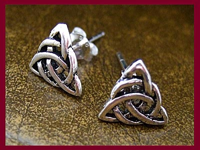 Celtic Triple Goddess Triquetra Earrings - Studs