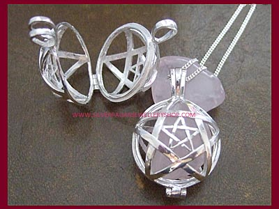 Pentagram Crystal Locket Pendant