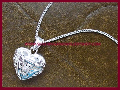 Filigree Heart Locket Pendant Necklace