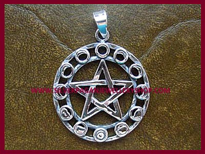 Moon Phase Pentagram Pendant