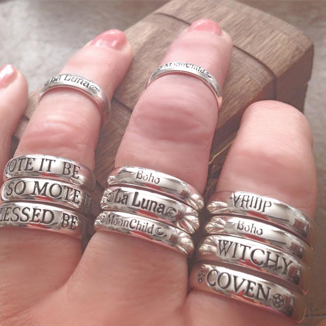Engraved WITCHY Rings - MIX and MATCH