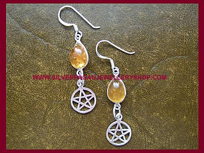 Amber Pentagram Earrings