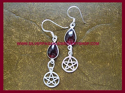 Garnet Pentagram Earrings