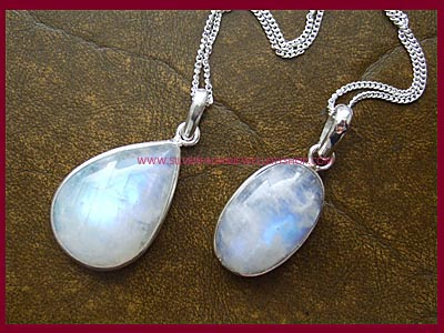 Rainbow Moonstone Necklace - Oval or Teardrop