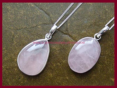 Rose Quartz Necklace - Oval or Teardrop