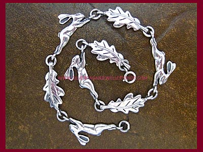 Leaping Hare & Oak Leaf Bracelet