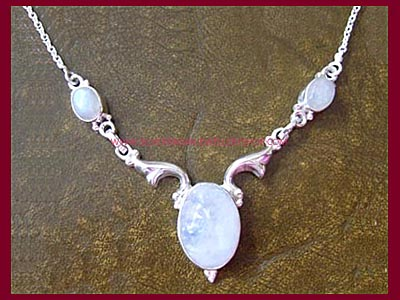 Black Magic Necklace - Rainbow Moonstone