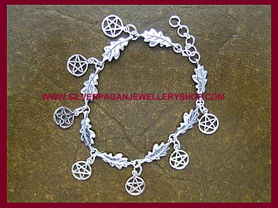 Oak Leaf and Pentagram Bracelet