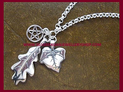 Oak Leaf, Ivy Leaf & Pentagram Necklace