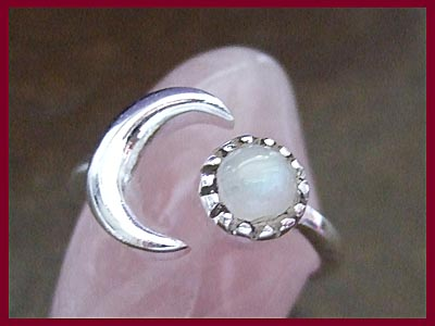 Rainbow Moonstone Crescent Moon Ring *MORE STOCK SOON*