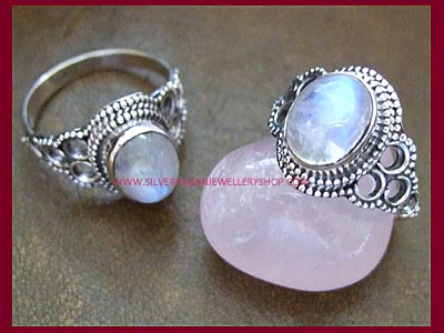 Rainbow Moonstone Moon Child Ring