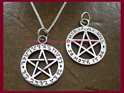 So Mote It Be Pentagram Pendant - Theban Double Sided