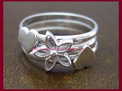 Hearts & Flowers Rings - Stackable