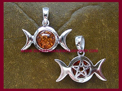 Amber Triple Moon Pentagram Pendant