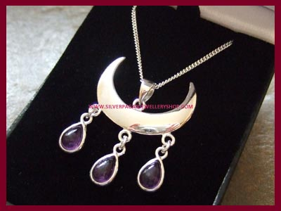Wiccan Moon Blessings Necklace - Amethyst