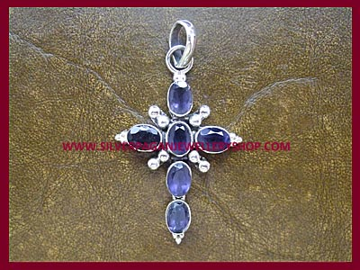 Facetted Iolite Cross ** MORE STOCK SOON **