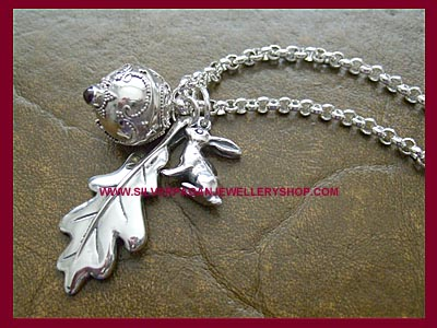 Oak Leaf, Angel Caller & Hare Necklace