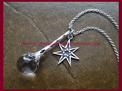 Crystal Ball Pendant & Faerie Pentacle Necklace