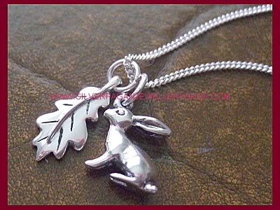 Hare and Oak Leaf Necklace