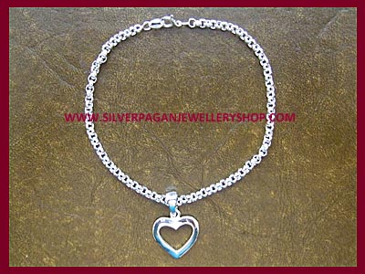Plain Silver Heart Bracelet - Click Image to Close