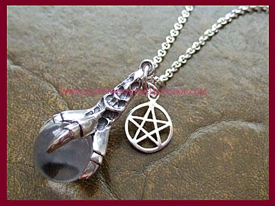Dragons Claw Pendant Necklace with Pentagram Charm