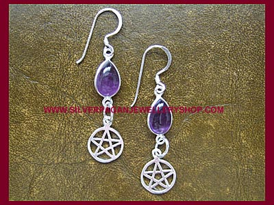 Amethyst Pentagram Earrings