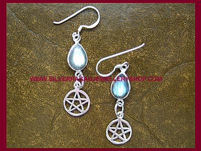 Labradorite Pentagram Earrings
