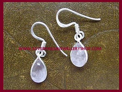 Teardrop Rose Quartz Earrings