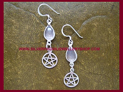 Rose Quartz Pentagram Earrings