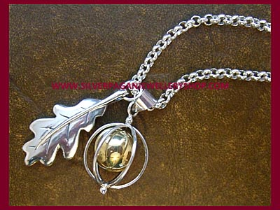 Oak Leaf and Angel Caller Necklace