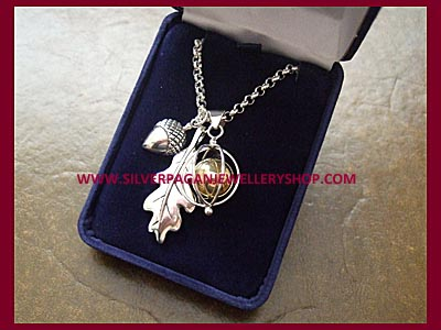 Oak Leaf, Acorn & Angel Caller Charm Necklace