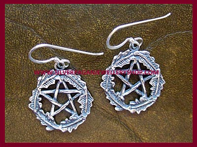 Oak Leaf Pentagram Earrings