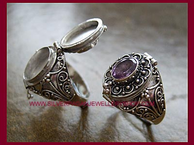 Amethyst Poison Locket Ring