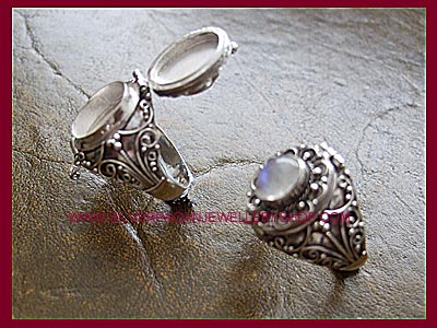 Rainbow Moonstone Poison Locket Ring - MORE STOCK SOON