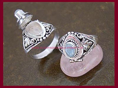 Rainbow Moonstone Poison Locket Ring
