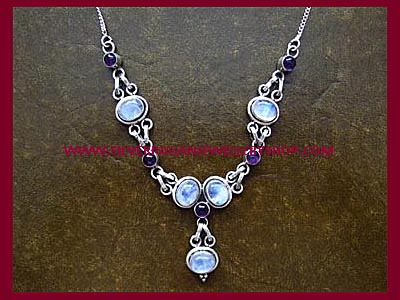 Amethyst & Rainbow Moonstone Necklace