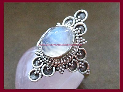 Rainbow Moonstone Ring - Black Magic