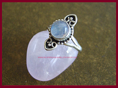 Rainbow Moonstone Planchette Ring