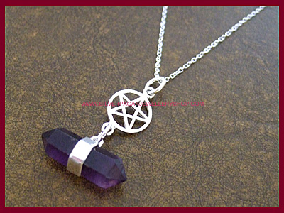 Amethyst and Pentagram Necklace