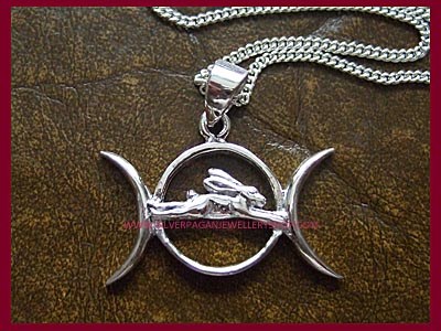 Triple Moon and Hare Necklace