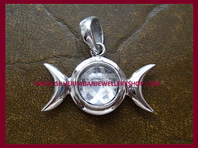 Quartz Crystal Triple Moon Pentagram Pendant