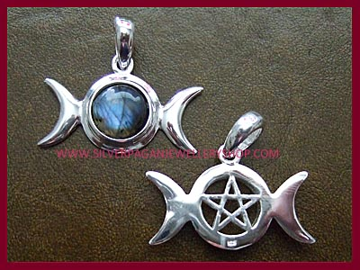 Labradorite Triple Moon with Pentagram Pendant