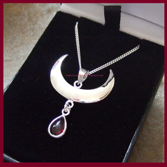 Moon Drop Necklace - Garnet